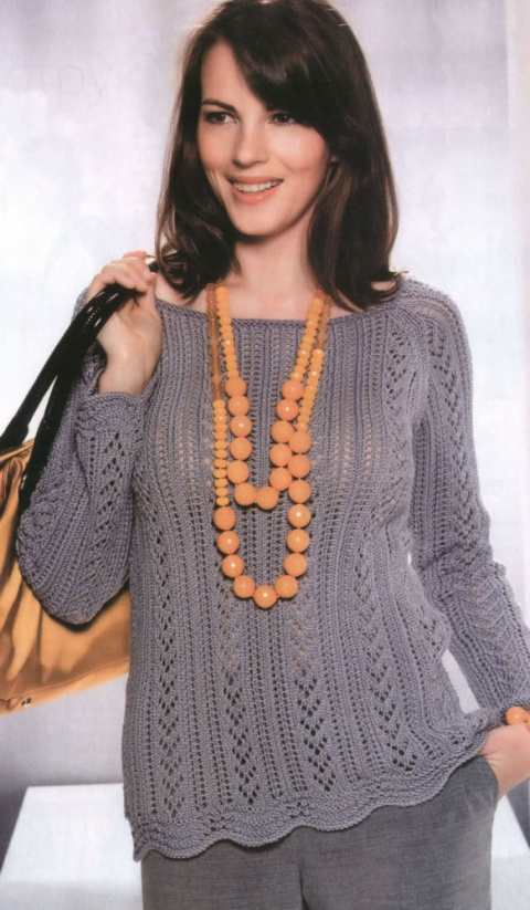 Ажурный пуловер реглан спицами