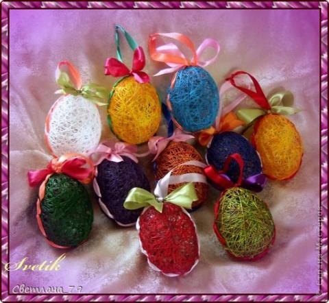Кружевные яйца и яйца из ниток для пасхального декора (мастер-класс).