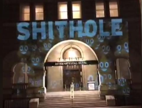 'Shithole' Projected onto Trump Hotel