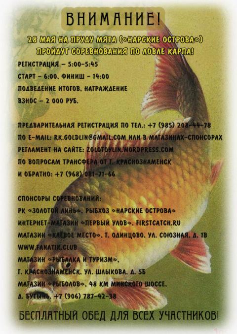 Поймай «Мятного карпа»! Соревнования 28 мая, рыбхоз «Нарские острова».