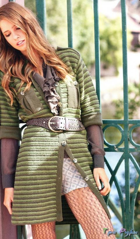 Платье-пальто в полоску