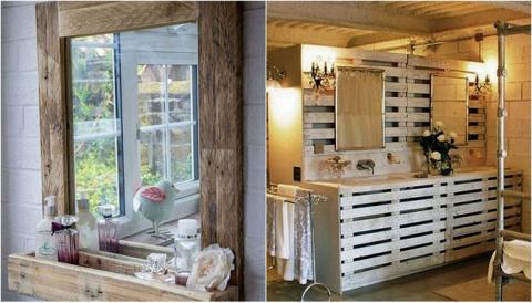 26 красивых поделок из паллет в деревенском стиле для ванной комнаты