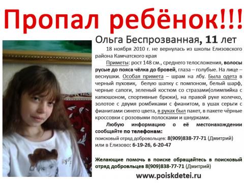 Камчатский Край, Ольга Беспрозванная, 11 Лет