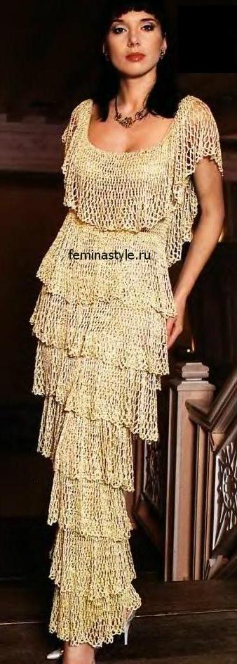Золотистое вечернее платье