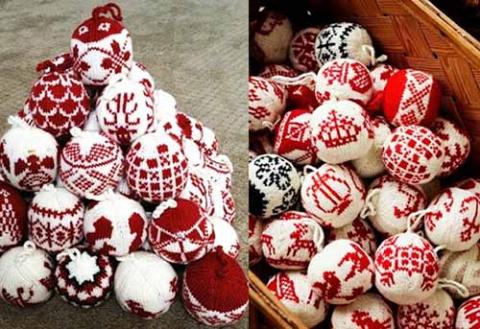 схемы новогодних шаров для вязания спицами