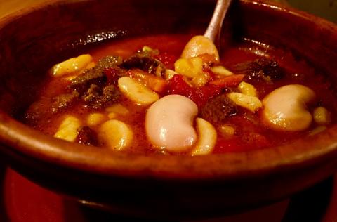 Суп Боб -левеш ,с фасолью и чипетками