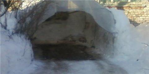 Когда лень чистить ворота гаража от снега на помощь приходит русская смекалочка