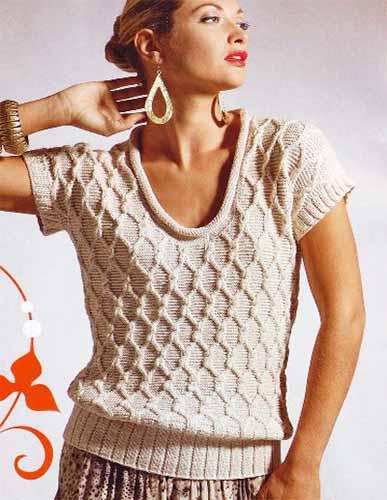 пуловер с коротким рукавом узором ромбы