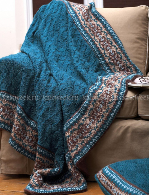 Покрывало и подушка с жаккардом