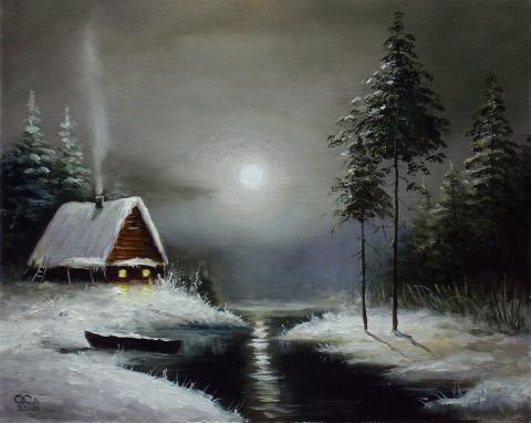 """""""Морозный вечер"""" 50Х60 см"""