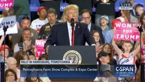 Речь Трампа в Пенсильвании сопровождалась российскими триколорами