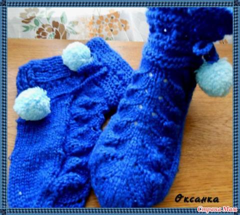 Симпатичные носки-тапочки спицами