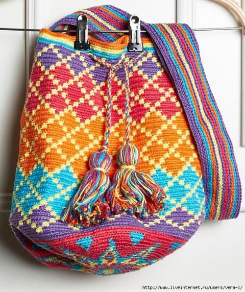 Красивая сумка-торба крючком. Схемы