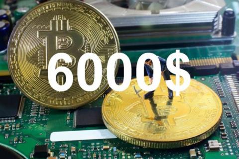Цена биткоина впервые превысила $6 тысяч