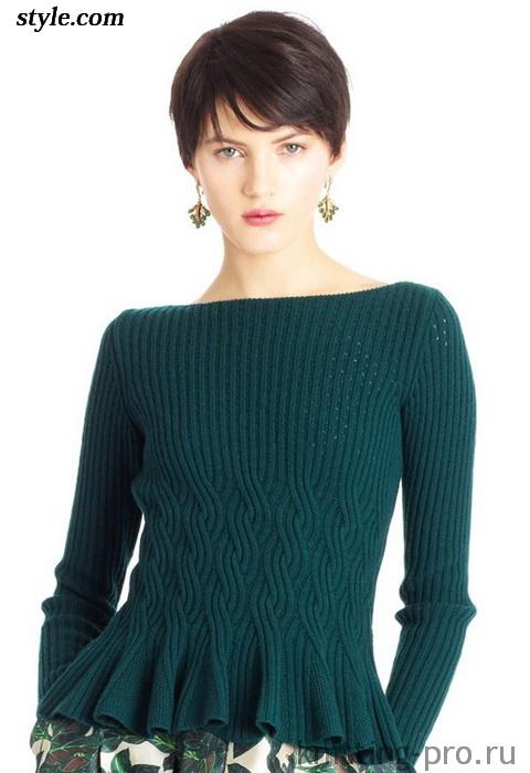 Пуловер с баской от Оскар де ла Рента