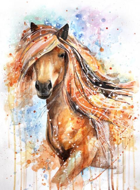 Лошади в акварельных рисунках Елены Швец