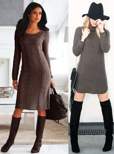 Вязаное платье-свитер – когда и с чем носить