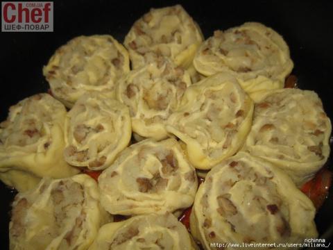 Ленивые вареники-рулетики с картошкой и грибами.