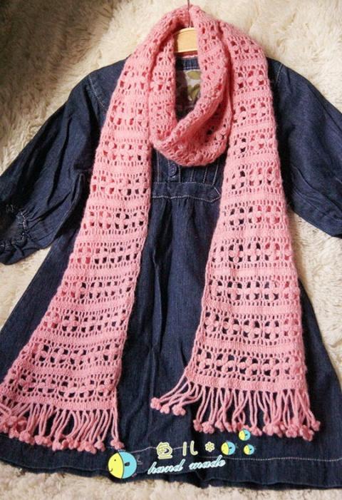 Ажурный цветочный шарф. Схема
