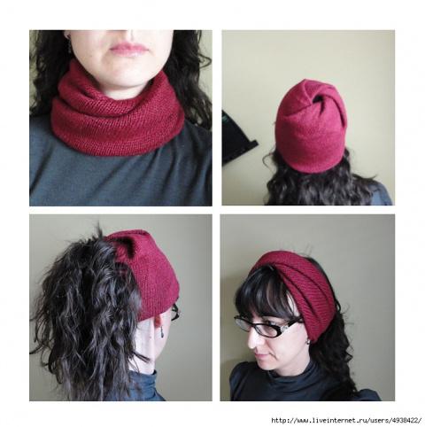 Необычный трансформер шапка-снуд-повязка