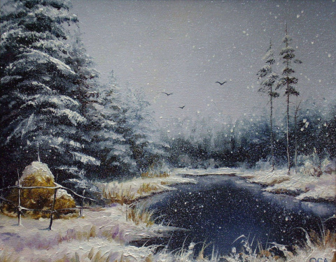 """Снег идёт""миниатюра 45х30см"