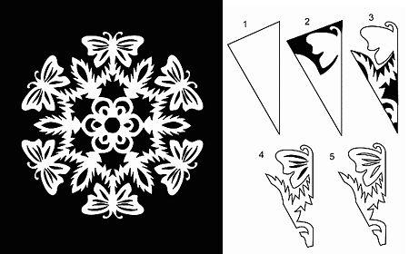 Снежинка бабочка схема