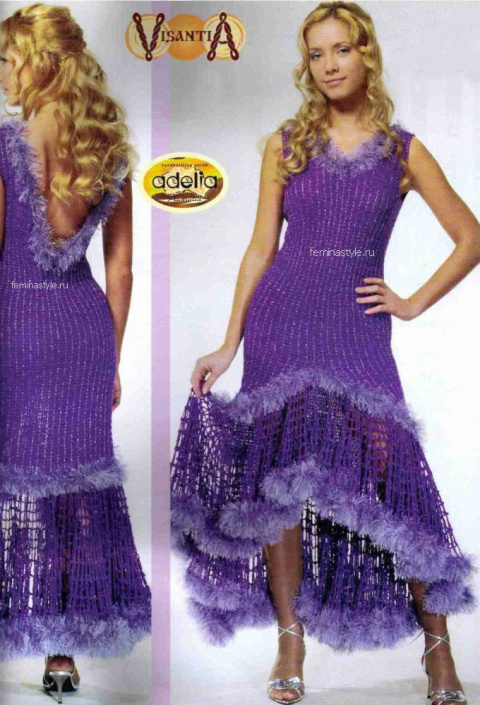 Сиреневое платье с оборкой