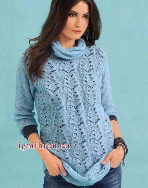 удлиненный пуловер с ажурным узором