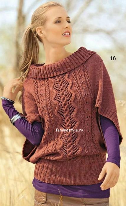 Узорчатый пуловер-пончо