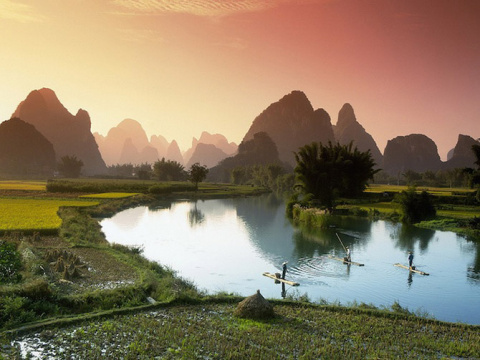 Живописные пейзажи долины реки Ли в Китае