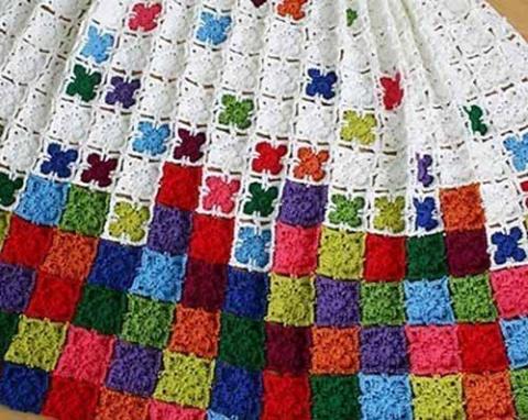 простой мотив для вязания пледов