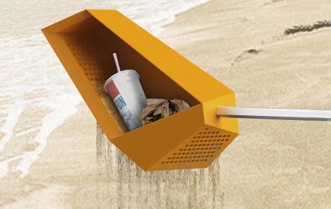 Совок-сито для уборки мусора на пляже