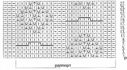 схема вязания узора мотыльки