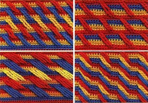 многоцветные узоры крючком