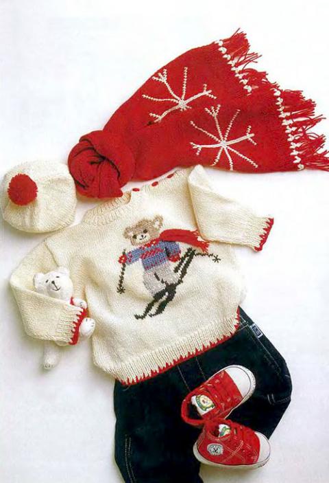 Комплект: пуловер, шарф и берет