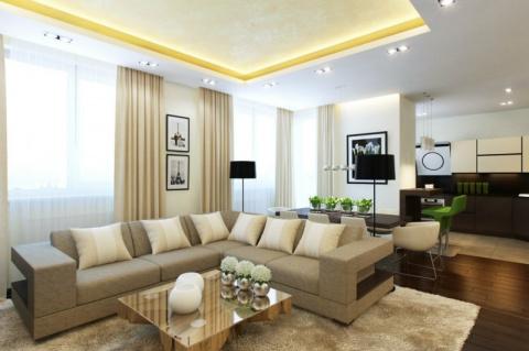 Элегантный дизайн интерьера современной квартиры в светлых тонах