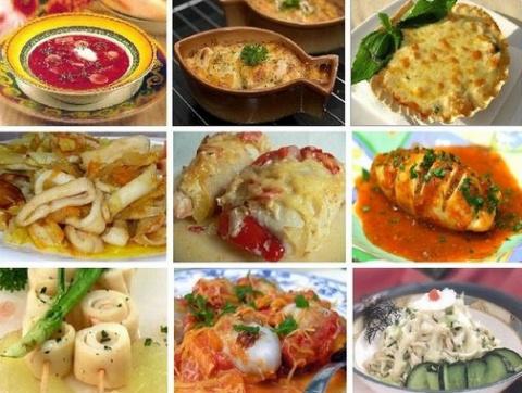Девять вкусных блюд с кальмарами