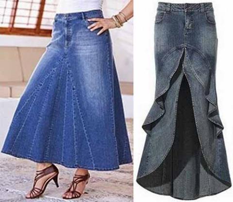 выкроить юбку из джинсов