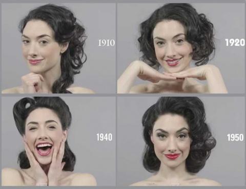 100-летняя история макияжа и причесок за одну минуту