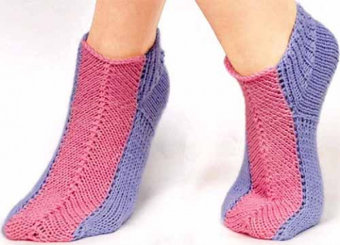 носки без швов двумя спицами