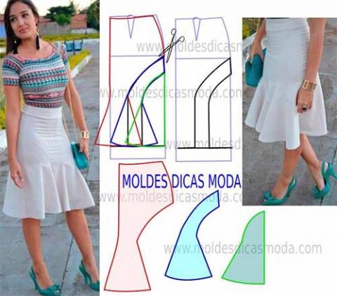 Как смоделировать выкройку узкой юбки, расширяющейся внизу