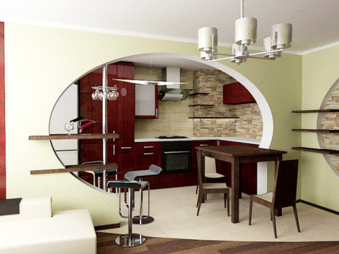 Дизайн кухни-студии.