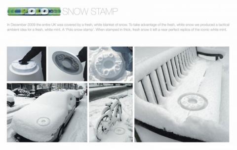 Оригинальный способ рекламы на снегу