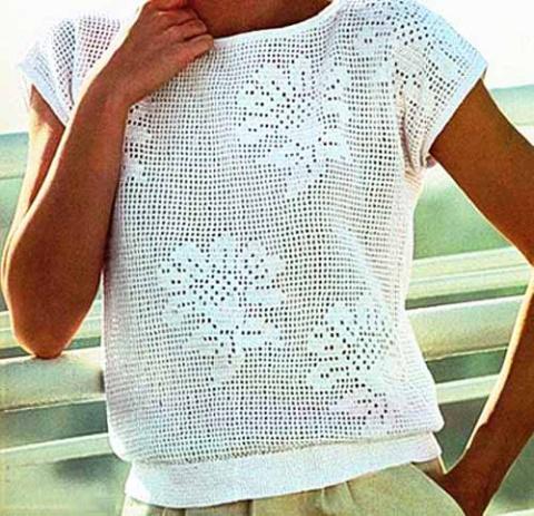 схема с цветком для филейного вязания