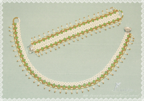 Ажурный комлект ожерелье и браслетик из бисера + схемка