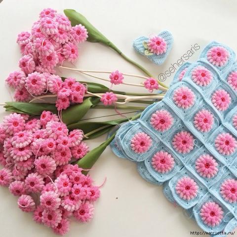 Милые цветочные мотивы крючком