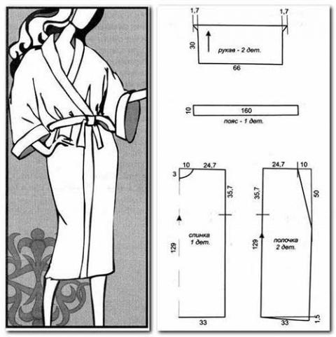 Выкройки для махровых халатов с капюшоном и без