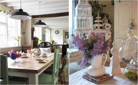 Красота и нежность кухни в стиле «потёртого шика»