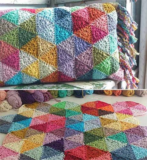 подушка и плед из треугольников