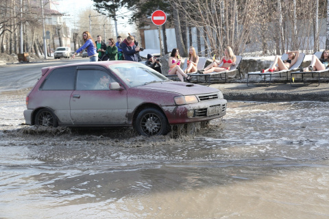 В Новосибирске на обочинах дорог загорают девушки